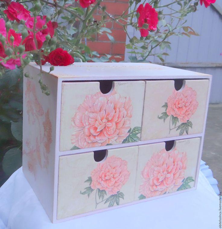 """Купить Комод """"Розовый сад"""" - розовый, подарок девочке, подарок декушке, розы, лепнина, имя"""