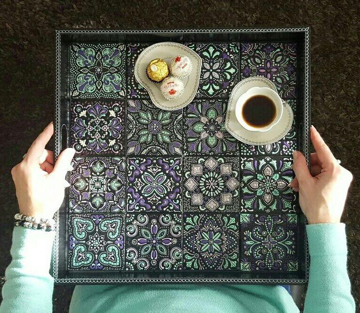 Hand painted serving tray with ceramic tiles  #servingtray #tray #ceramictiles #handmade #originalgifts #oneofakind #поднос #ручнаяроспись #ручнаяработа #styleyourhome #decor