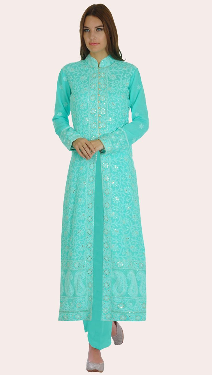 Limpet Shell Chikankari And Kamdani Pure Georgette Jacket Suit