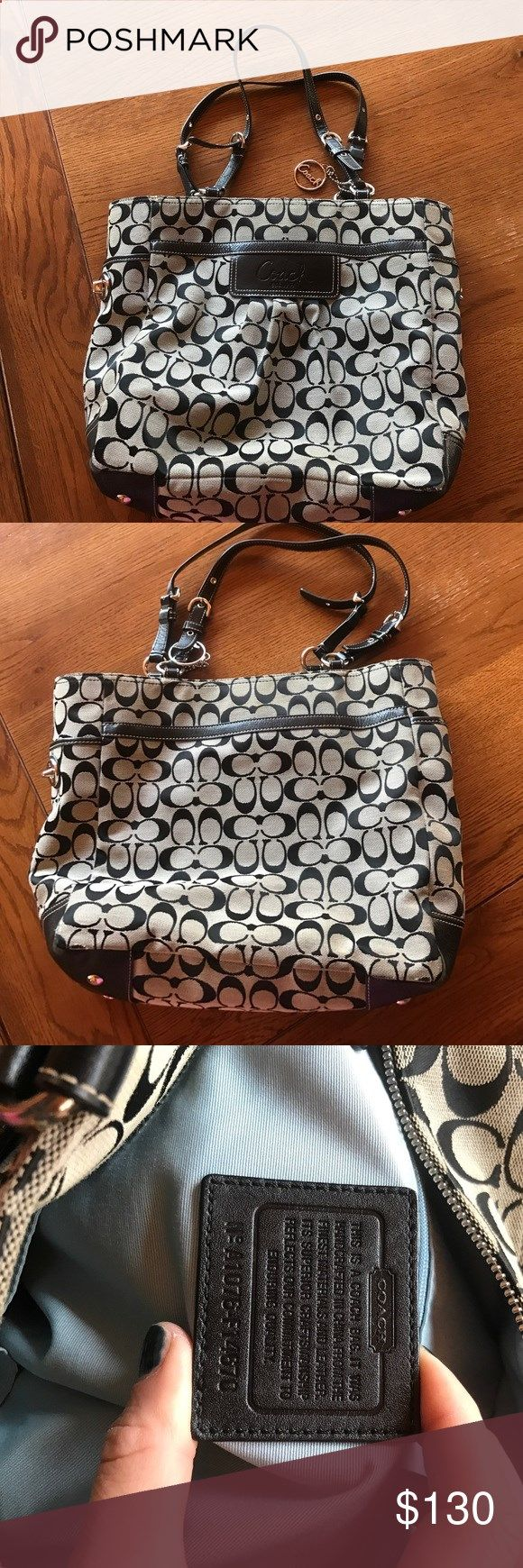 Coach Purse; black and silver tote LIKE NEW! Gently used. Authentic. Black and silver Coach tote purse dimensions 12inx12 inches x 5in base Coach Bags Totes