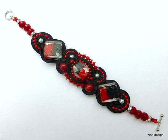 Black and Red Large Soutache Bracelet OOAK by ZinaDesignJewelry, $70.00