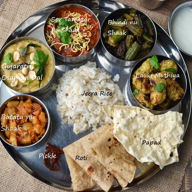 Gujarati Thali: Bhindi nu shaak (Okra Curry), Sev Tamatar nu Shaak (Tomato Curry), Aloo nu shaak (Potato curry), Osaman Dal, Lauki Muthiya, Jeera Rice. | Cook's Hideout