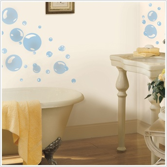 BUBBLES 31 BiG Wall Stickers Water Bathroom Room Decor Decals Blue Bath Kids NEW on eBay! $20 Annie's favorite.