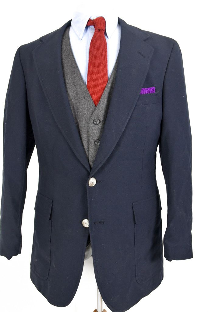 Men's Preppy Blue Navy Blazer in Worsted Wool from Polo Ralph Lauren University Club | 40L
