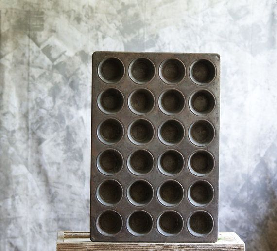 Vintage Cup Cake Pan or Muffin Tin Large Industrial by susantique, $30.00