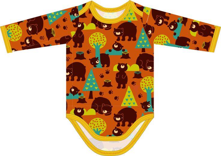Matériel: * Jersey - Lillestoff - Bears (Largeur du tissu: 150 cm) ( body )  50 cm ( Taille 3 mois - 6 mois )  75 cm ( Taill...