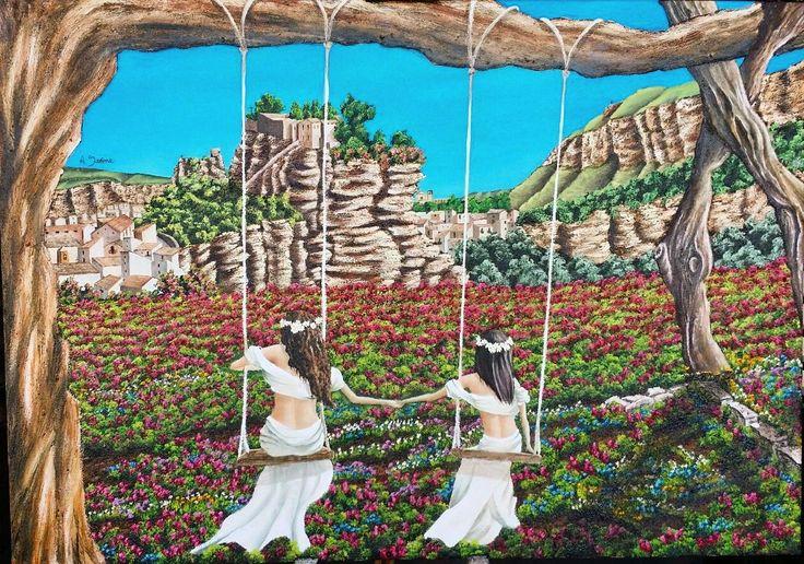 Il dipinto raffigura il fantastico paesaggio corleonese , e in primo piano due bambine con abiti hippie, che giocano su di una semplice altalena ; quello che proprio tutti i bambini dovrebbero fare più spesso , invece di stare dietro ai cellulari. Questo quadro rappresenta un invito alla libertà , alla spensieratezza , tipici dell'infanzia.
