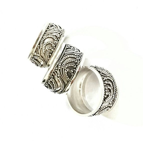 .925 Bali Intricate Design Sterling Silver WideBand Ring handcrafted by skillful Balinese silver smiths & individually handmade so there might be slight variations in size and weight.  Weight Approx: 4.5 Grams Band Width approximately 10mm  Color: Antique Silver (Oxidized)