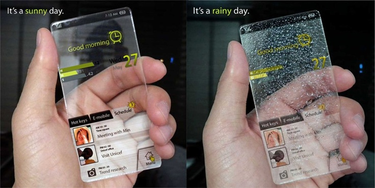 """A product concept titled """"The Window Phone"""" by Seunghan Song. The cell changes its appearance based on accurate predictions of the weather."""