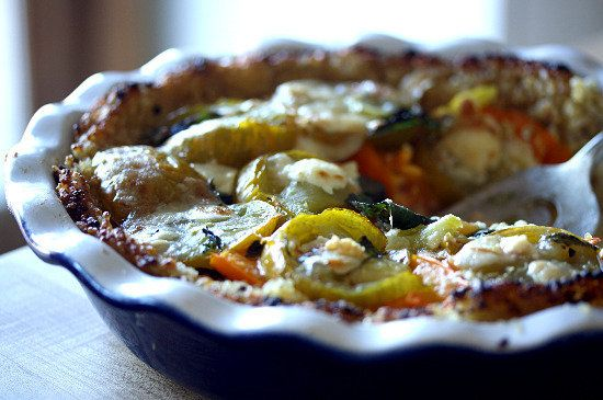 """Heirloom Tomato, Basil and Goat Cheese """"Pie"""" (With a Rice, Millet, and Quinoa Crust), a recipe on Food52"""