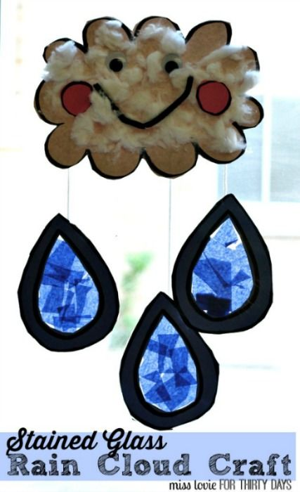 Stained Glass Rain Cloud Craft--Adorable kids idea with step by step tutorial from Miss Lovie.