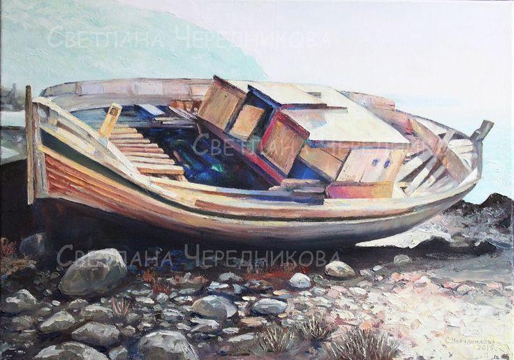 Лодка - серый,оранжевый,пейзаж,лодка,масло,холст,мастихин,морской пейзаж