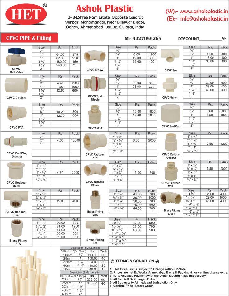 CPVC Pipe Fittings Price List - Ashok Plastic