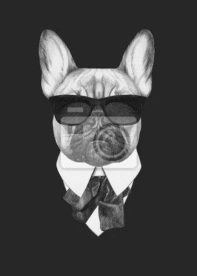 Canvas of Poster design, hond, drawing - portret van de franse bulldog in pak. hand getrokken illustratie. ✓ Brede keuze van materialen ✓ 365 dagen om zonder opgaaf van redenen het product te retourneren ✓ Bekijk de opinies van onze klanten!