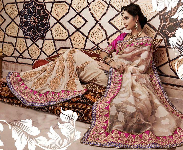 Exclusive Beige Embroidered Saree