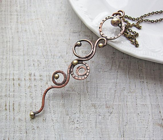 Copper and Brass Long Elegant Pendant Necklace by MaryBulanova