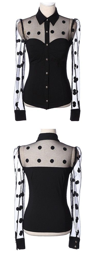Polka Dots & Voile Splicing Shirt