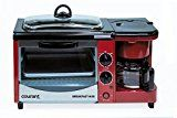 "Courant CBH-4601R 3-in-1 Multifunction Breakfast Hub (4 Slice Toaster Oven, Large 10"" Diameter Griddle Pan, 5 Cup Coffee Maker), Red   Toaster oven with a 9 liter capacity which includes a crumb tray, bake pan, and rack Coffee maker with a 5 cup capacity removable water tank for easy..."