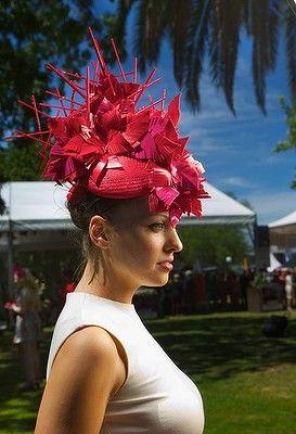 Natalie Bikicki, a hat maker, displays her work at the Caulfield Cup Melbourne