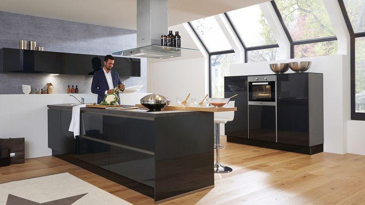 Culineo G345 grifflos Lacklaminat Grafit Hochglanz Culineo - Aus - küche mit weinkühlschrank