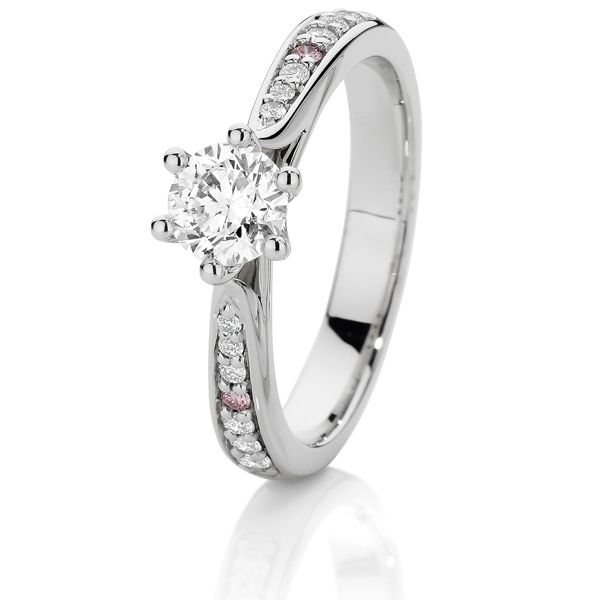 *Exclusive Diamond Ring with Argyle Pink Diamonds in the shoulders