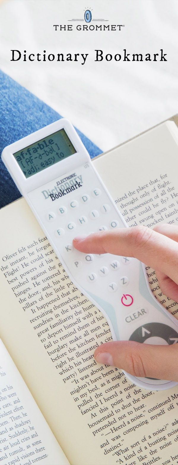 Let your bookmark tell you the meaning of tens of thousands of words. This electronic dictionary bookmark is slim enough to mark your page and smart enough to define 38,000 words.
