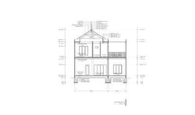 contoh gambar kerja lengkap rumah 2 lantai mewah di