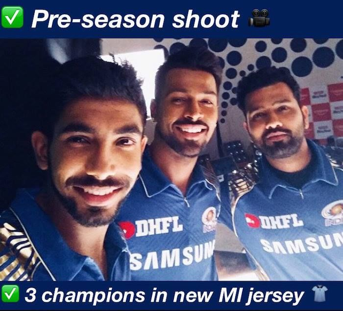 Jasprit Bumrah Hardik Pandya Rohit Sharma Don New Mi Jersey For Ipl 2018 Facebook Com Mycrickettrolls Latest Cricket News Mumbai Indians Cricket Teams