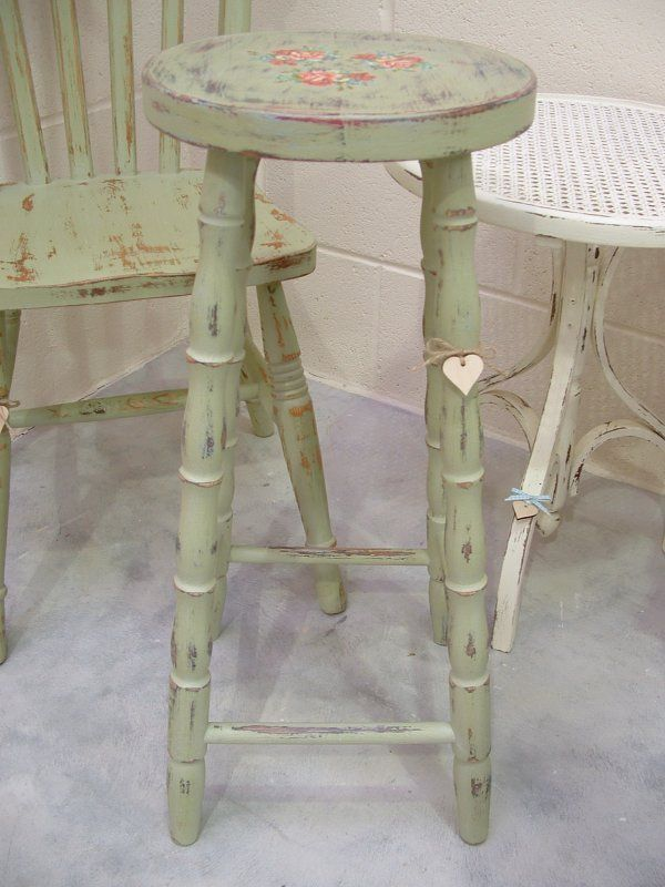 solid pine country breakfast stool bar stool painted floral shabby chic painted country. Black Bedroom Furniture Sets. Home Design Ideas