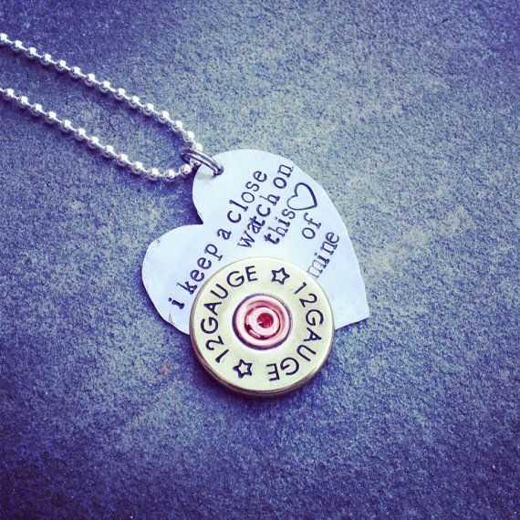 "Hand Stamped Johnny cash ""I keep a close watch on this heart of mine"" necklace with riveted shotgun shell accent  on Etsy, $31.00"