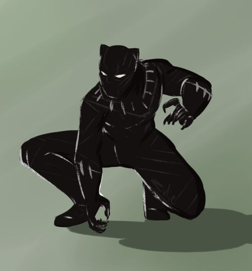 how to draw black panther full body