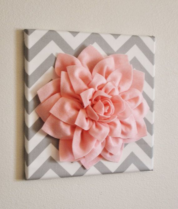 "Wall Flower -Light Pink Dahlia on Gray and White Chevron 12 x12"" Canvas Wall Art"