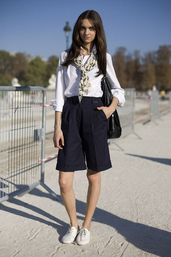 White Blouse with Anchor Scarf with Navy Blue Culottes