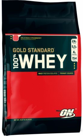 Optimum Nutrition Gold Standard 100% Whey Delicious Strawberry 10 Lbs. OPT084 Delicious Strawberry - 24g of Whey Protein with Amino Acids for Muscle Recovery and Growth*