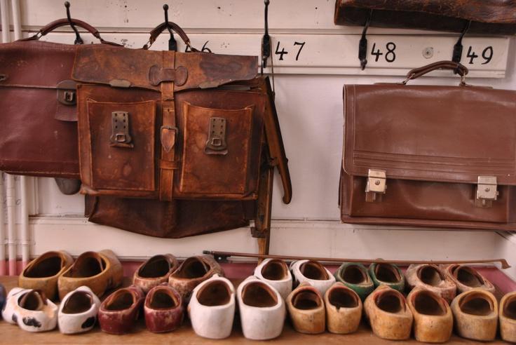 Wooden shoes at old school on Dutch Island: Schiermonnikoog