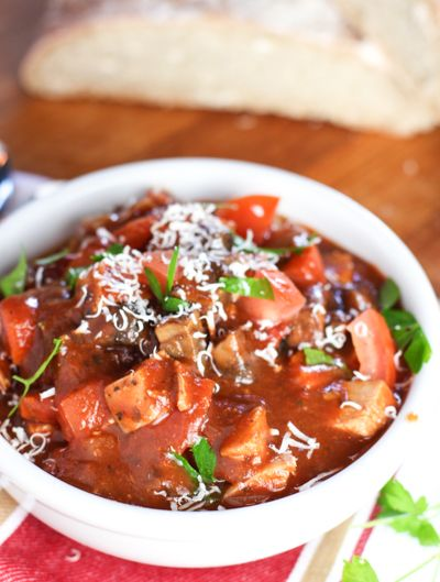 Easy Italian Chicken Stew! Wonderful on a cold winter night. Packed with chicken and portobello mushrooms - full flavor meal that comes together in a snap!