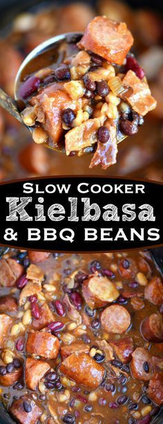 Slow Cooker Kielbasa and Barbecue Beans is the perfect chilly day ...