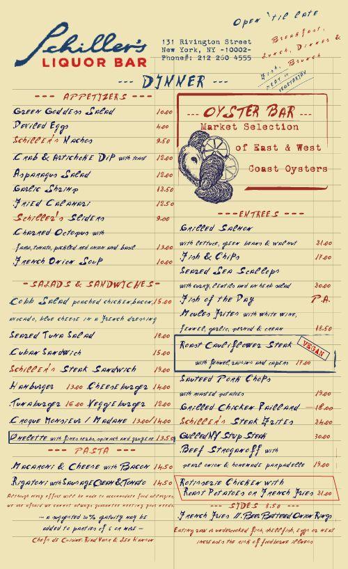 Schiller's Liquor Bar Menu Restaurant Design