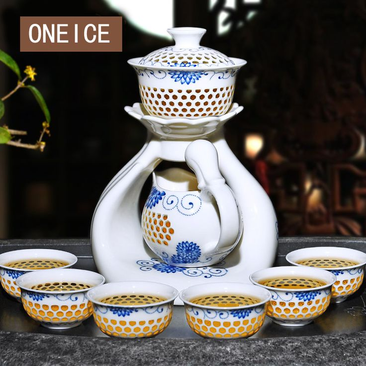 >> Click to Buy << Automatic Tea Set Hollow exquisite Blue and white Package Creative lazy ceramics  Kung Fu auto filter 8 cups Chinese  porcelain  #Affiliate