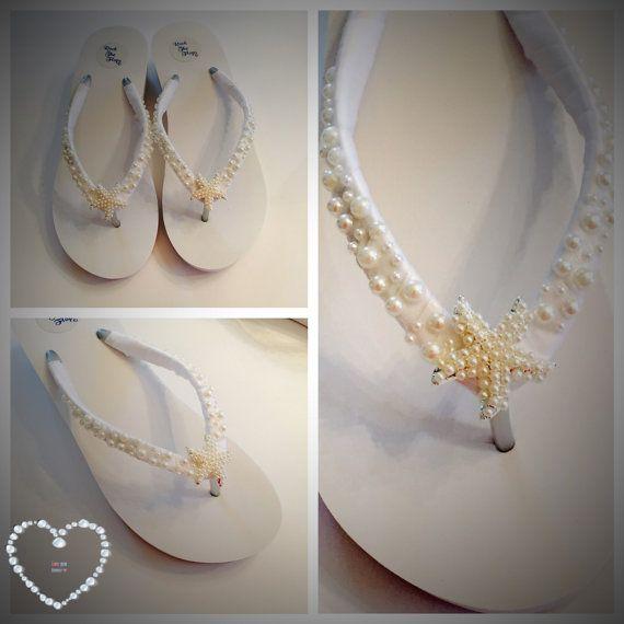Wedding Flip Flops/Bridal Flip Flops /Wedges. White Bridal