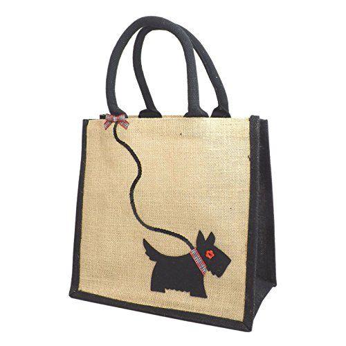 Jute Hessian Medium Black Trim Shopping Bag - Scottie Dog on Sequin Lead Yellowboots http://www.amazon.co.uk/dp/B01705MVZE/ref=cm_sw_r_pi_dp_nIuLwb0BPFJQH