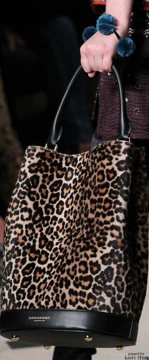 Burberry ~ Prorsum Leopard Print Leather Tote Fall 2015                                                                                                                                                                                 More