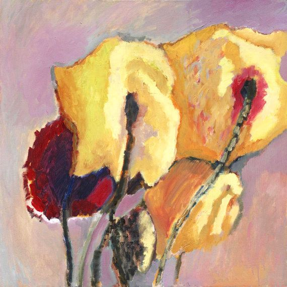 YELLOW RED ROSES - Original Oil Art - Colorful - Handmade - Floral - Flowers home - Gift - Canvas - Bright - Happiness - 20x20 inches