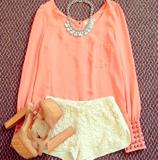 coral top, shorts, platforms