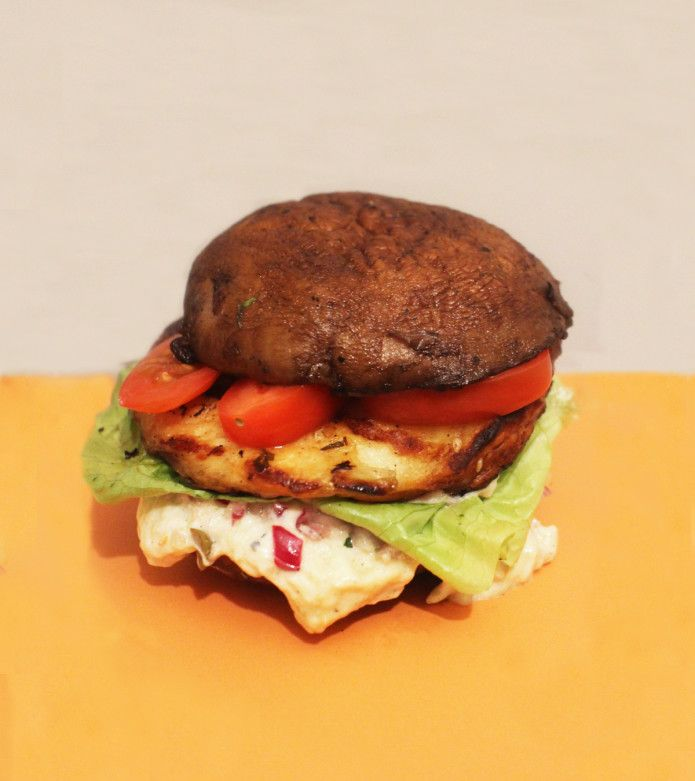Mushroom burger with smoky aubergine sauce - the mushroom replaces the bun making the burger both gluten free and veggie friendly. Recipe from my latest show, Rachel Khoo's Kitchen Notebook Melbourne #RKKNM