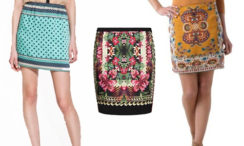 Faldas #style scarf print Zara 19.95 €, floral Mango 25.99 € o Promod 34.95 € # moda
