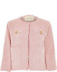 River Island Pink Boxy Boucle Jacket