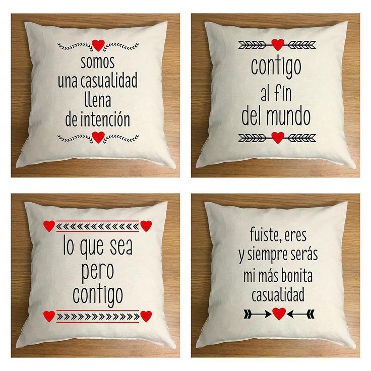 """Cojines Acción poética, un detalle para San Valentín #sanvalentin #accionpoetica #cojines #pillow #love #frases #amor #susiecreativa #diseñotextil"""