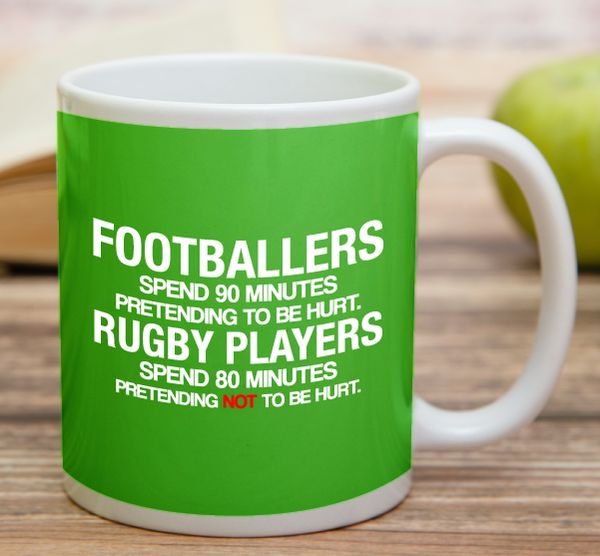"""Footballers Vs Rugby Players""    High quality 11 oz ceramic mugs, microwave and dishwasher safe.   Delivery.  All mugs are custom printed within 2-3 working days and delivered within 3-5 working days.  Express delivery costs $4.95 for the first item or if buying 2 or more items delivery is FREE!"