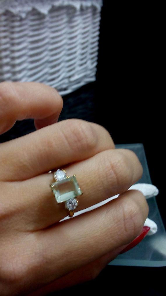 VERKAUF Grüner Amethyst Ring Emerald Cut Ring von candybohojewelry